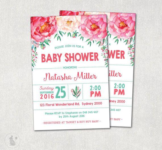 floral baby-dusche einladung. aquarell von bluebunnyprintables, Einladung