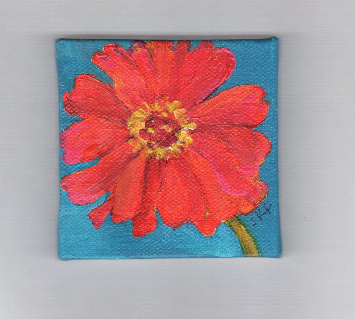 Original Red Zinnia Painting On Mini Canvas By Sharonfosterart Small Canvas Art Small Art Mini Paintings