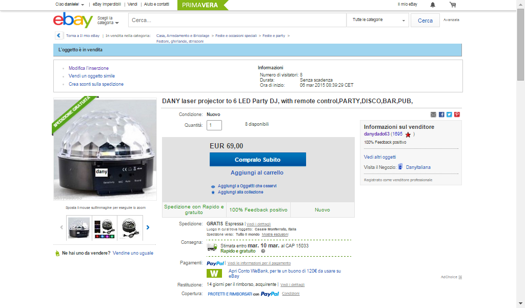 DANY laser projector to 6 LED Party DJ, with remote control,PARTY,DISCO,BAR,PUB, | eBay