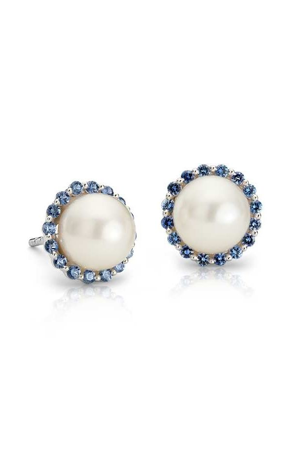 Sapphire And Freshwater Cultured Pearl Halo Stud Earrings
