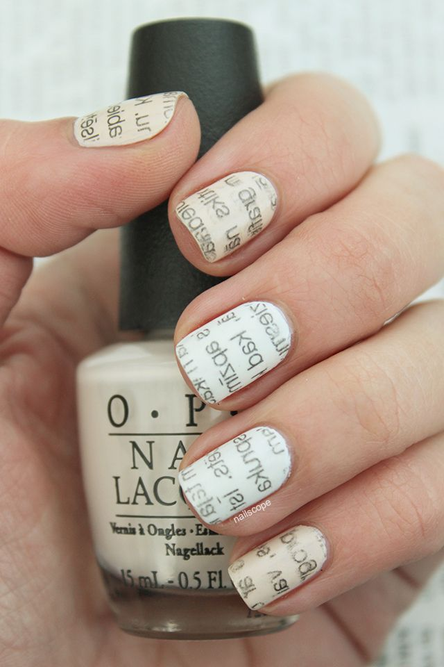 Newspaper nails | NailScope Nails | Pinterest | Newspaper nails and ...