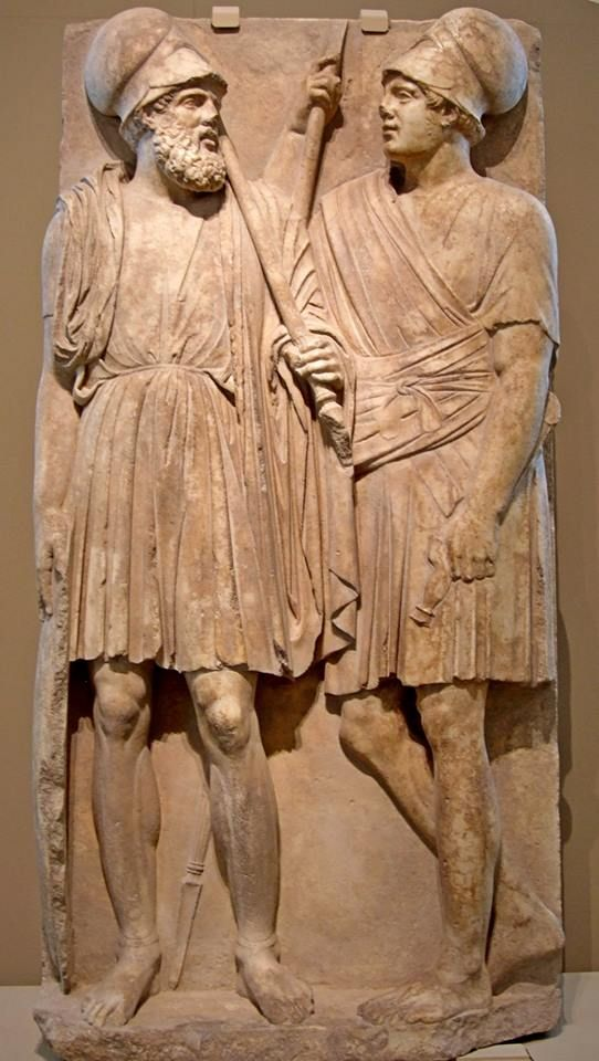 A grave stele with two warriors. Artist unknown, ca. 350-325 BCE. Found in the Taman Peninsula, Russia (part of the ancient Kingdom of Bosporus); now in the Pushkin Museum, Moscow.