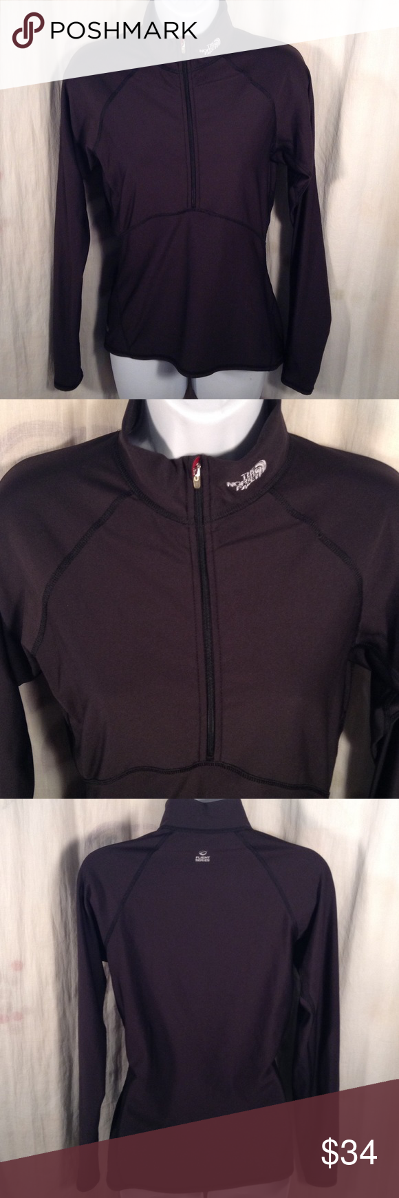 The North Face - Flight Series Black Tight Sweater EXCELLENT CONDITION. No issues. The North Face. Item is a turtleneck front zipper sweater. Polyester and elastane. Vapor Wick. Size M The North Face Sweaters Cowl & Turtlenecks