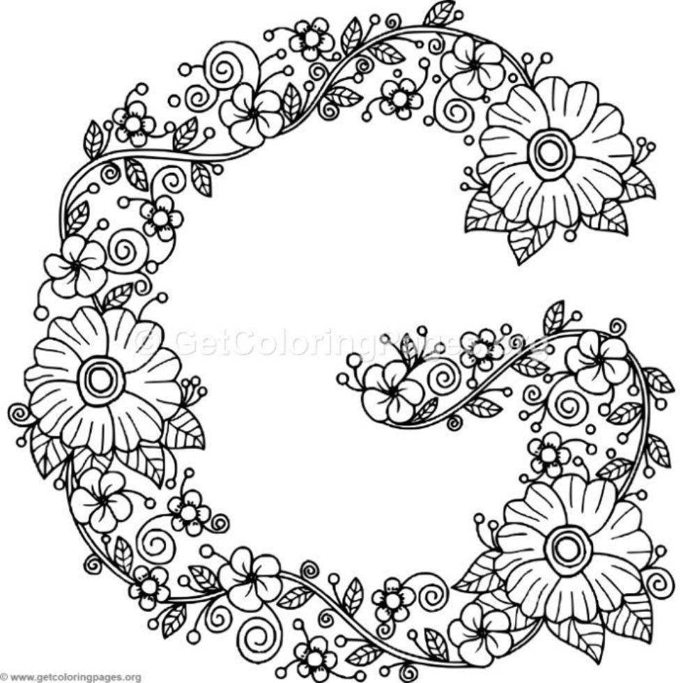 Floral Alphabet Letter G Coloring Pages Getcoloringpages Org Lettering Alphabet Coloring Letters Coloring Pages