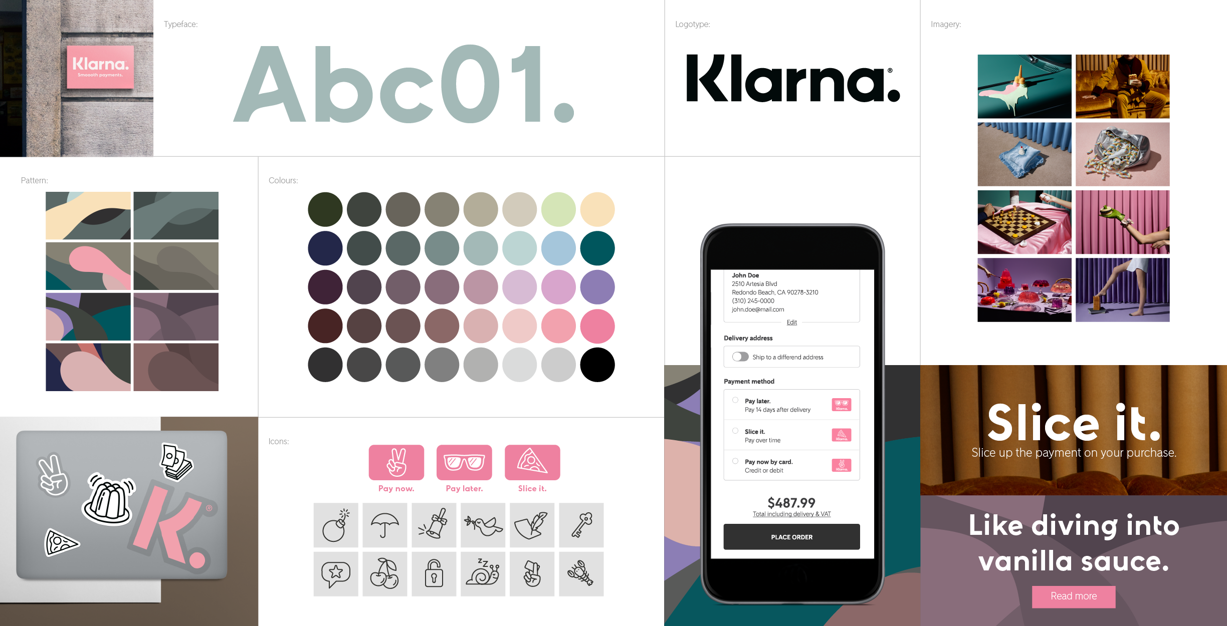 Klarna Smoooth Payments Brand Inspiration Board Identity Logo Brand Guidelines