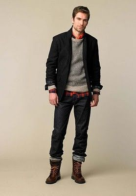Love the layered shirt with the sweater and blazer. I also like the boots.