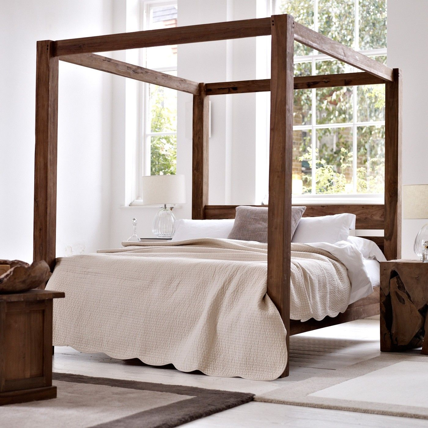 Four Poster Natural Teak King Bed 1605 Canopy Bed Frame Four