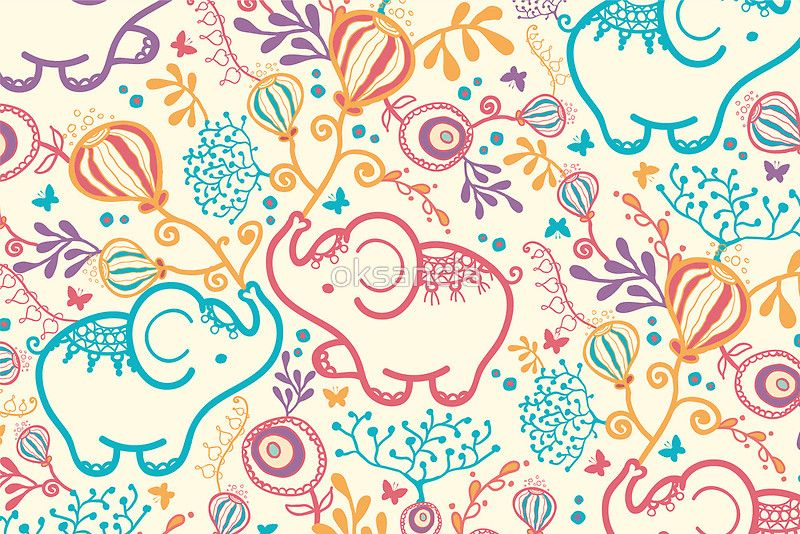 Elephants with bouquets pattern by oksancia on Redbubble - Available as T-Shirts & Hoodies, Stickers, iPhone Cases, Samsung Galaxy Cases, Posters, Home Decors, Tote Bags, Prints, Cards, Kids Clothes, and iPad Cases