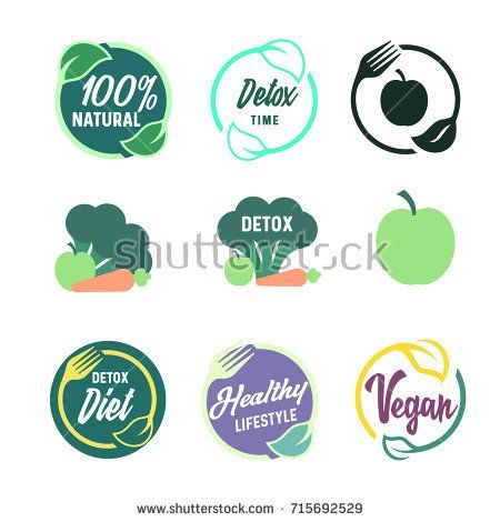 vegetarian food icon set with apple, carrot and broccoli silhouette. Detox and vegan round logo template. Symbols of healthy lifestyle, vegetable diet and 100% natural nutrition.