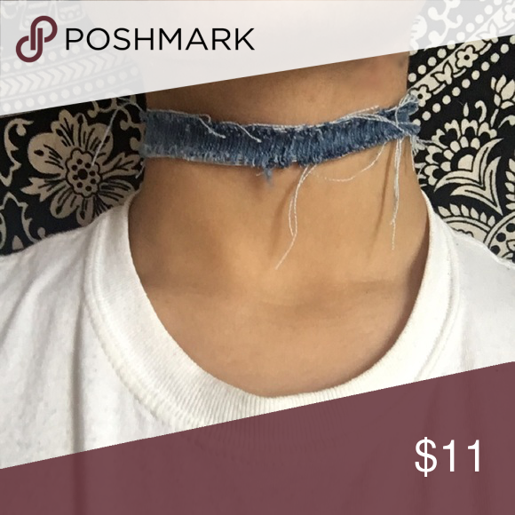 Distressed Denim Choker I made this myself out of old jeans i can customize to any neck measurements or make the choker as thick as you want it it's held together with a clasp in the back. Jewelry Necklaces