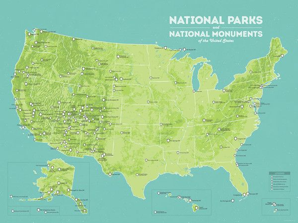 US National Parks, Monuments & Forests Map 24x36 Poster | Pinterest ...