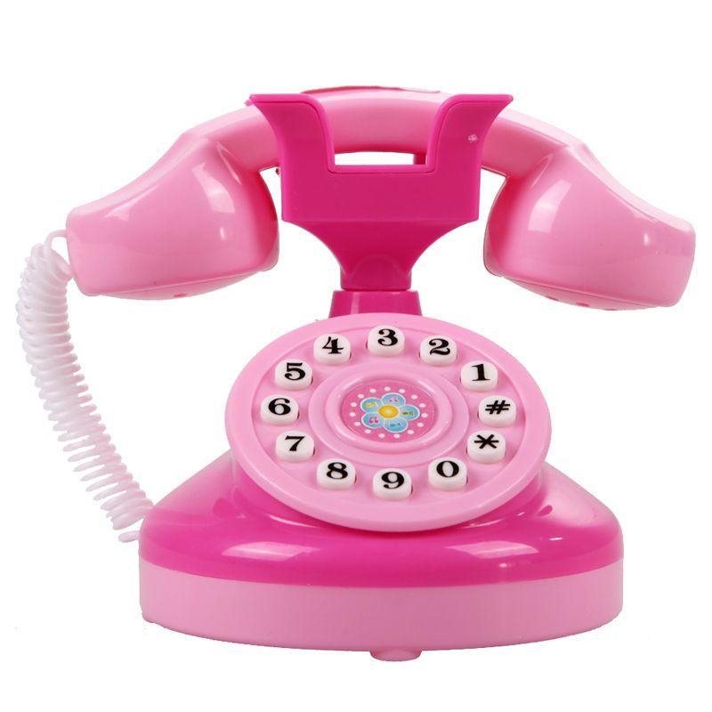Rosa Teléfono de Juguete Niños Emulational Educación Plástica Del Teléfono Juegos de imaginación Juguetes Niñas Juguetes Electrónicos Teléfono Regalos