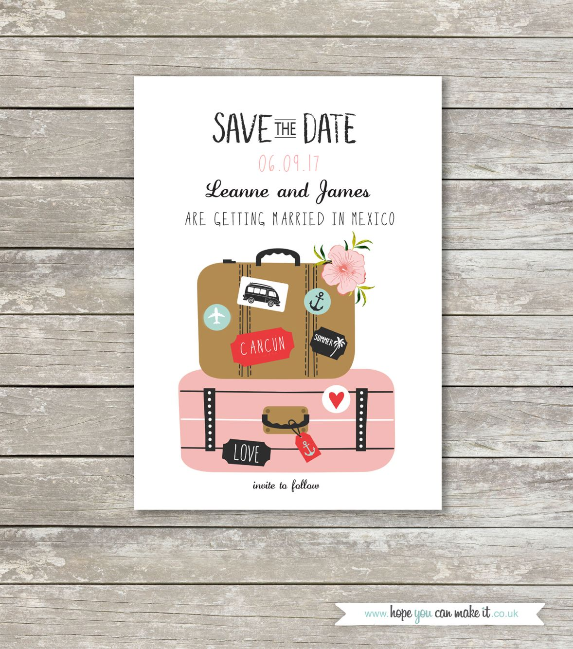 Dave the date wedding invite, suitcase design ideal for destination ...