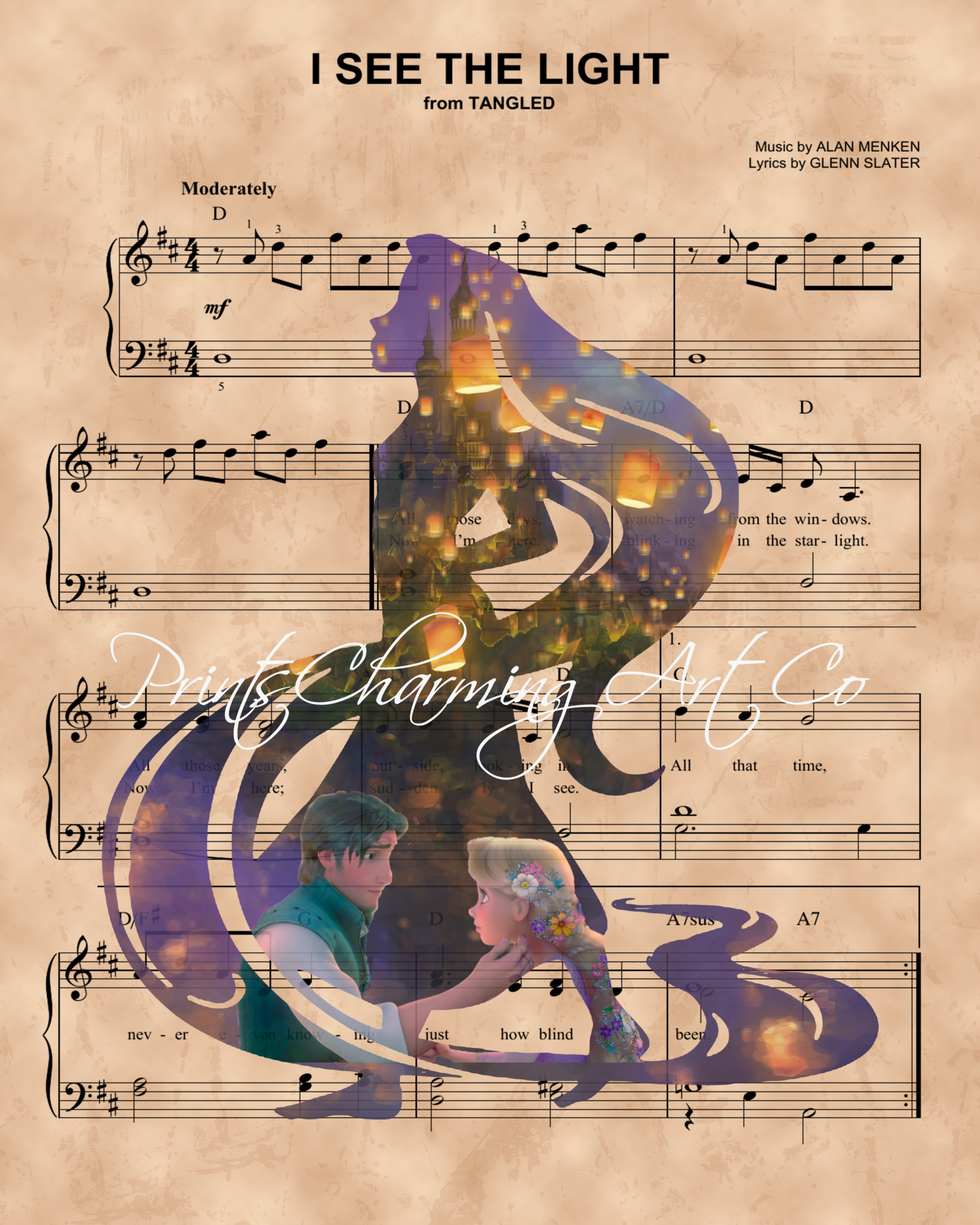 Tangled, Rapunzel Flynn Lantern Silhouette over I See The Light Sheet – Prints Charming Art, LLC