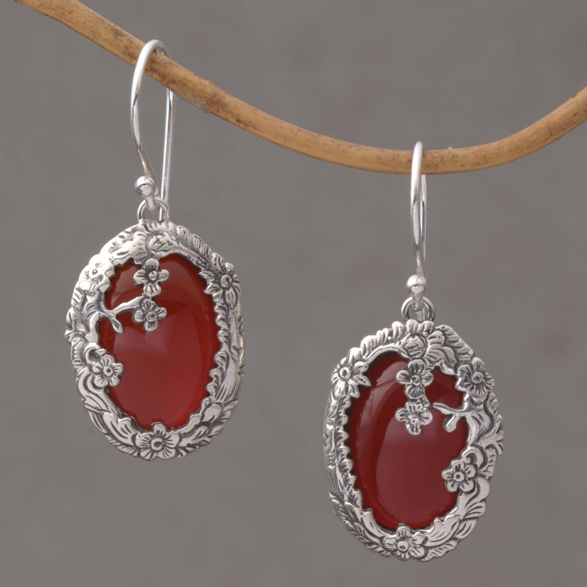 Unique Hoops Earrings Sterling Silver Carnelian Earrings Long Red Gem Earrings.