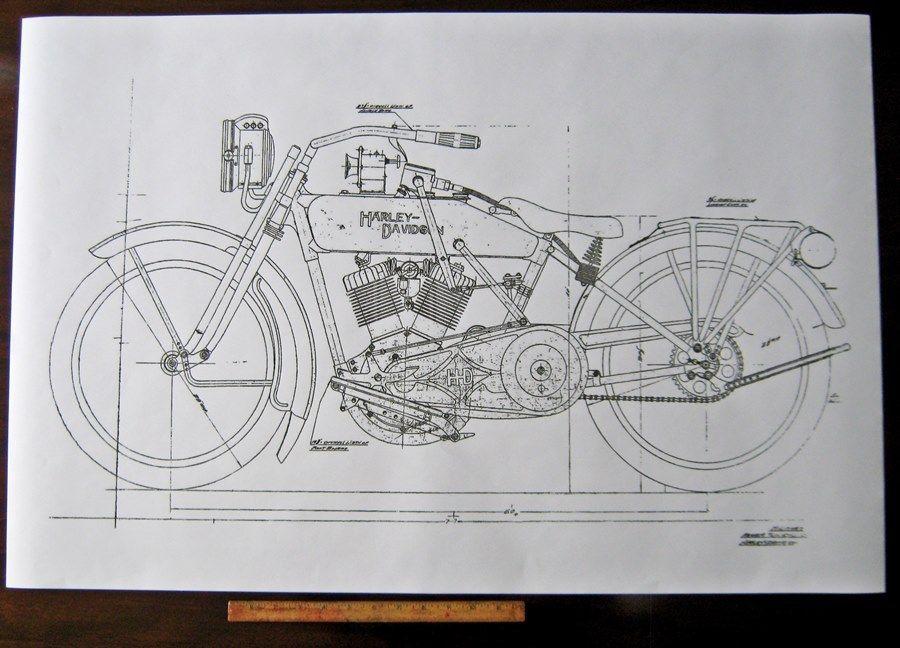 HARLEY DAVIDSON early J Military Motorcycle Engine DIAGRAM ...