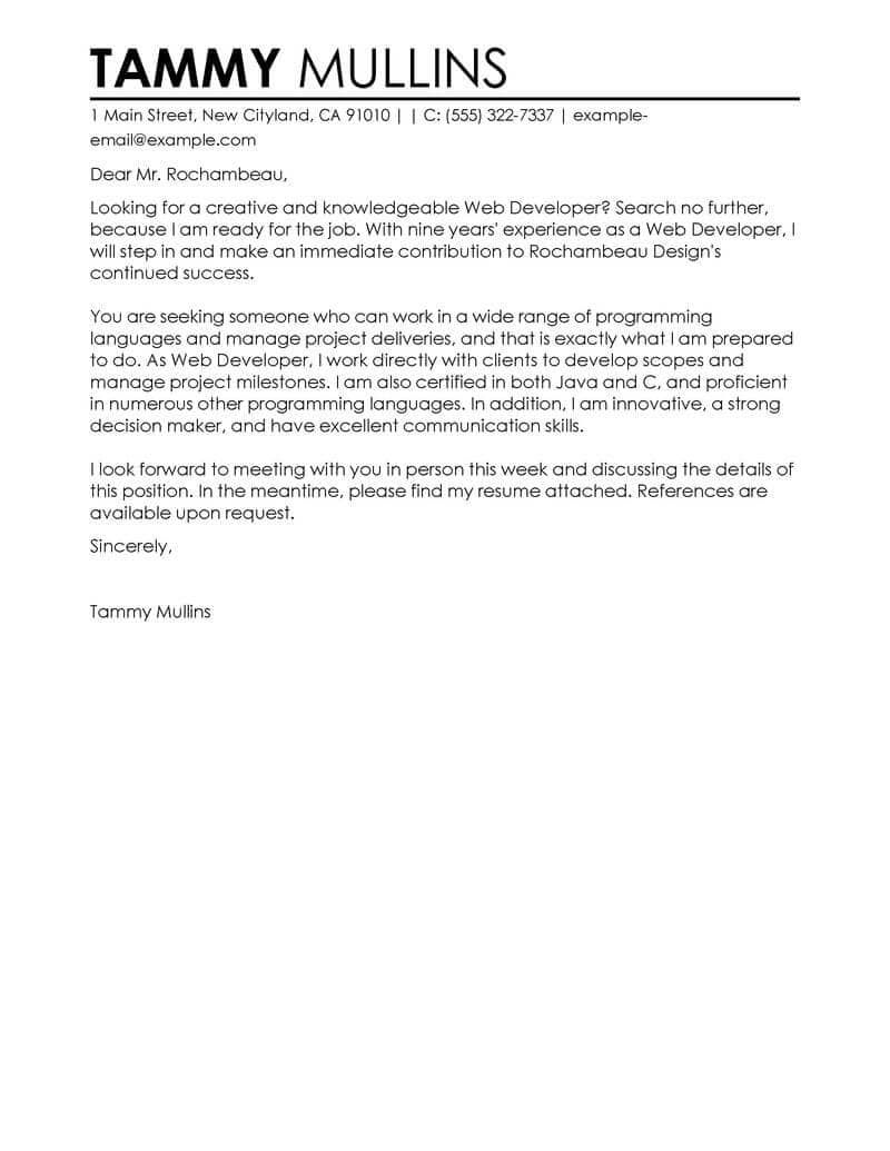 web developer cover letter examples
