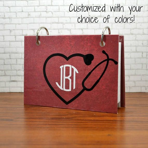 Index card binder with stethoscope with your monogram nursing