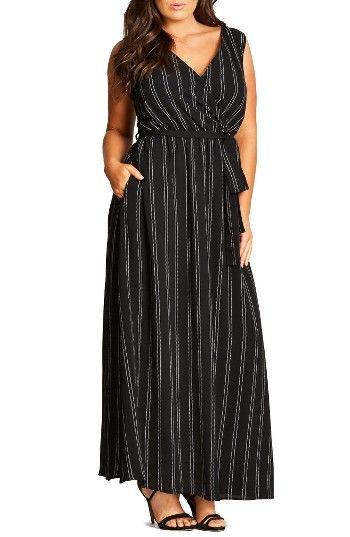 Free shipping and returns on City Chic Pin Stripe Maxi Dress (Plus Size) at Nordstrom.com. A V-neck at the front and a squared back showcase sun-kissed skin atop a flowy maxi dress patterned in slender zigzag stripes. A tie belt defines the waist and the legs get a breeze-catching boost from side slits.