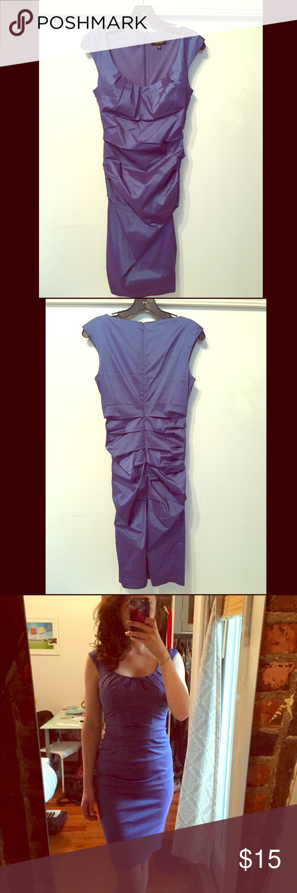 Blue ruched sleeveless dress Purple/blue sleeveless ruched dress size small (fits like a 2-4) Sangria Dresses