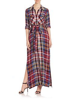 L'AGENCE - Plaid Long Sleeve Shirt Dress