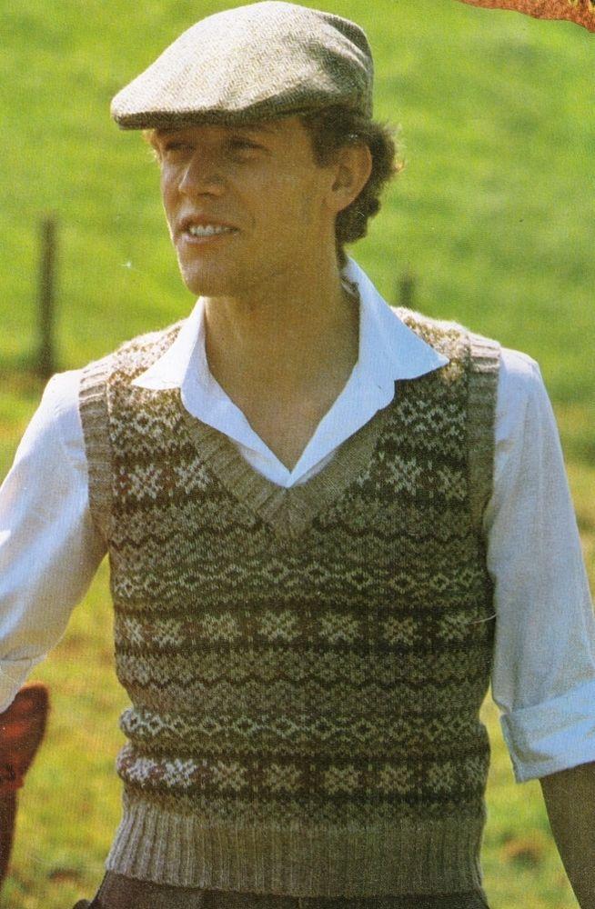 Fair Isle Scottish Vest Slip Over 10 Designs Inc Men Women 8ply
