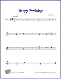 Happy Birthday Guitar Sheet Music Sheet Music Happy Birthday Music
