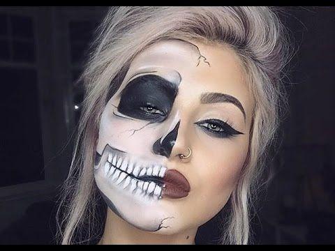 FADED HALF SKULL GLAM | Halloween Makeup Tutorial - YouTube ...