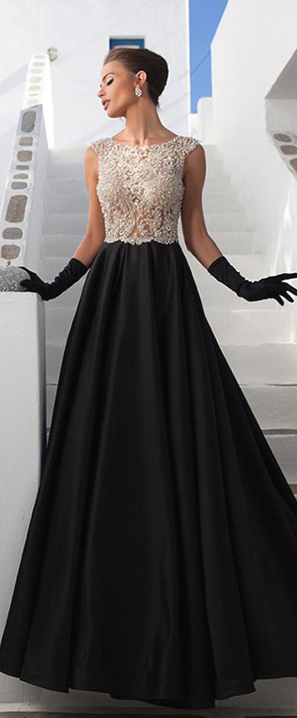 Stunning satin scoop neckline seethrough fulllength aline prom