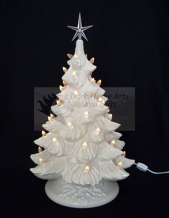 White Christmas Ceramic Christmas Tree w/ Music Box 19 in Products