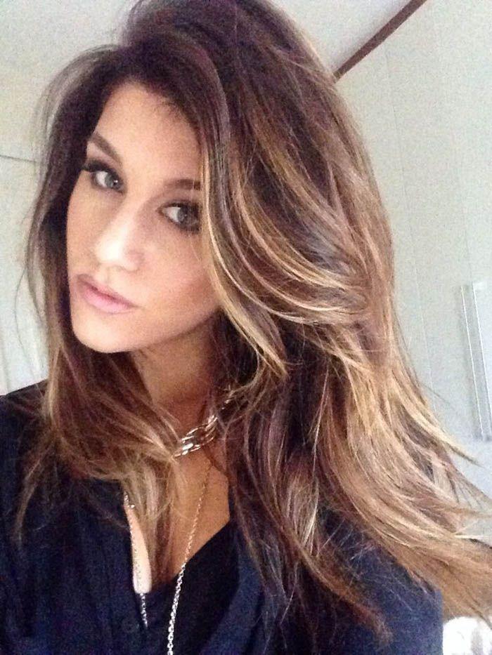 Tiny blonde streaks in brown hair | Hair | Pinterest | Light brown ...
