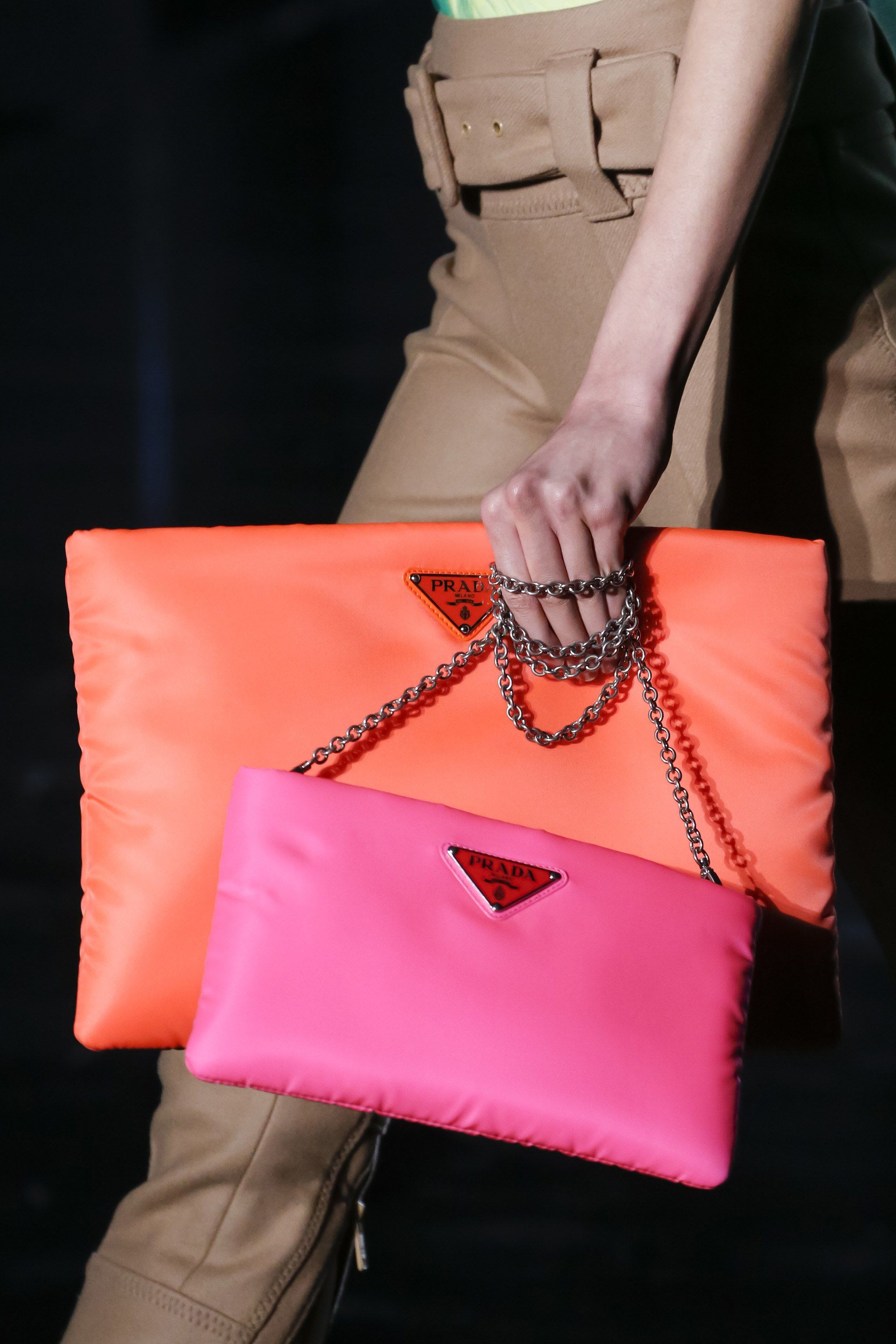 bcd12ed30cbf Brighten up any winter outfit with these colourful clutches & chain strap  bags - Prada Fall 2018 #MFW...x