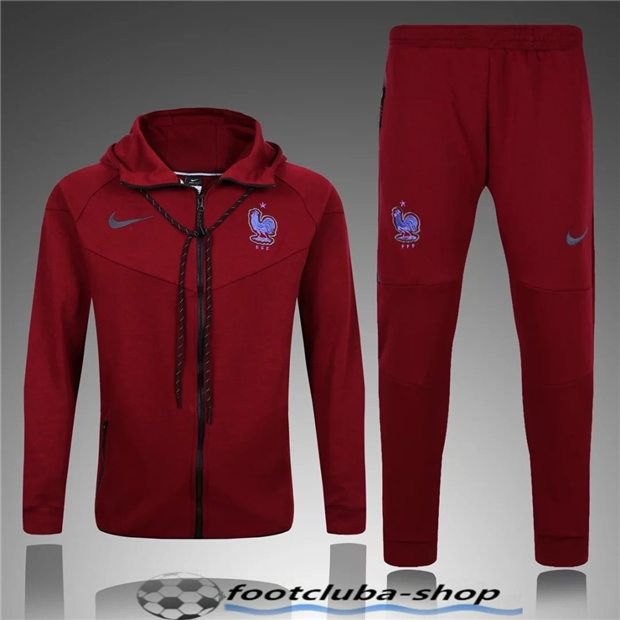 ensemble survetement homme France Rouge 2