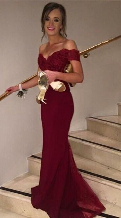 Wine Red Off-shoulder Mermaid/Trumpet Prom Dress,Lace Formal Occasion Dress Evening Gown