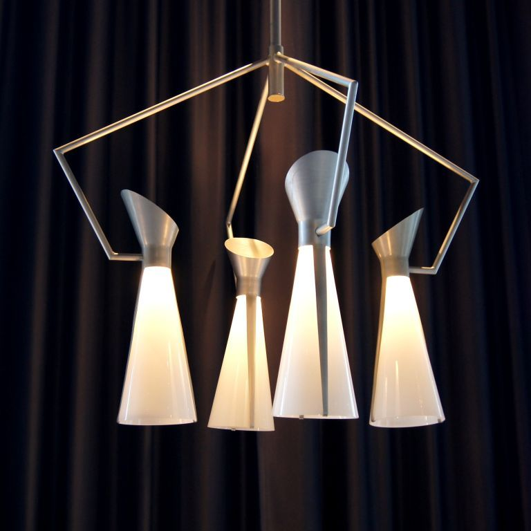 Pair Of Large Scale Chandeliers By Victor Gruen For John Lautner