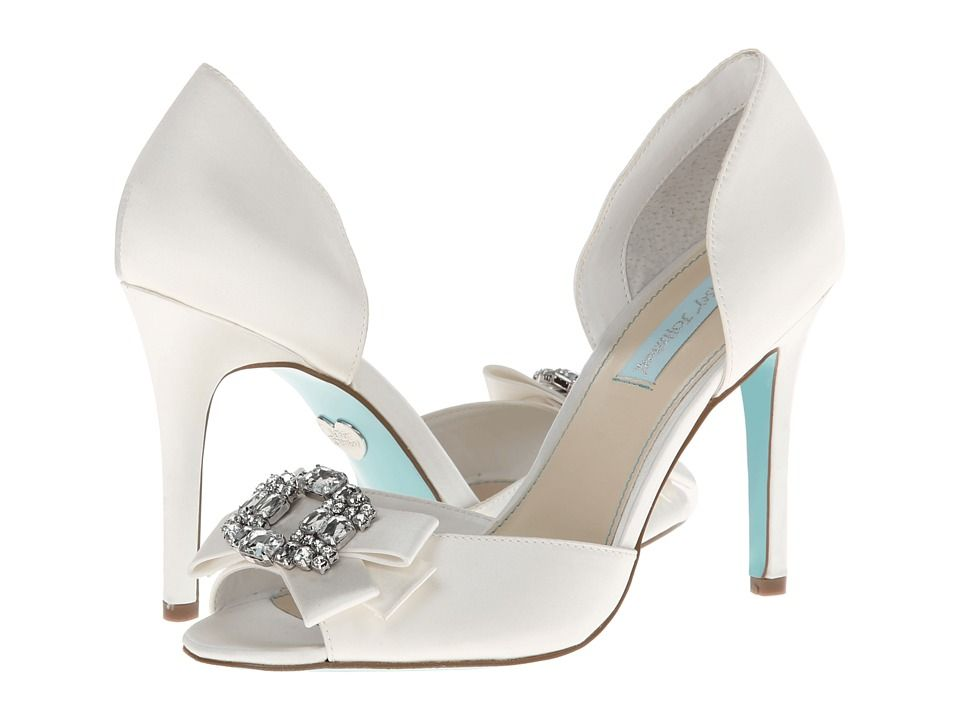 Blue by betsey johnson glam ivory satin wedding shoes