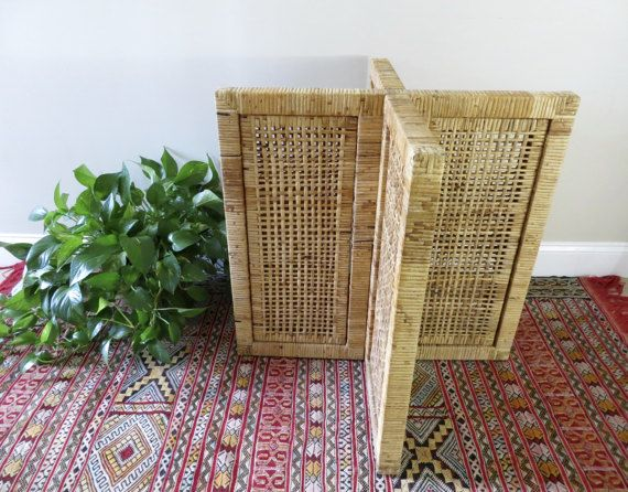 Vintage Wicker Dining Table Base   Rattan (2 Available) X Shape   Boho Style