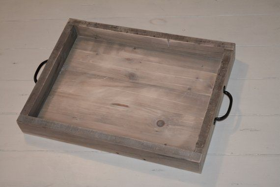 Rustic Wooden Tray With Handles 24 X 15 X 2 5 Reclaimed Wood Serving Tray Farmhouse Decor Rustic Decor Wood Tra Wooden Tray Serving Tray Wood Wood Tray