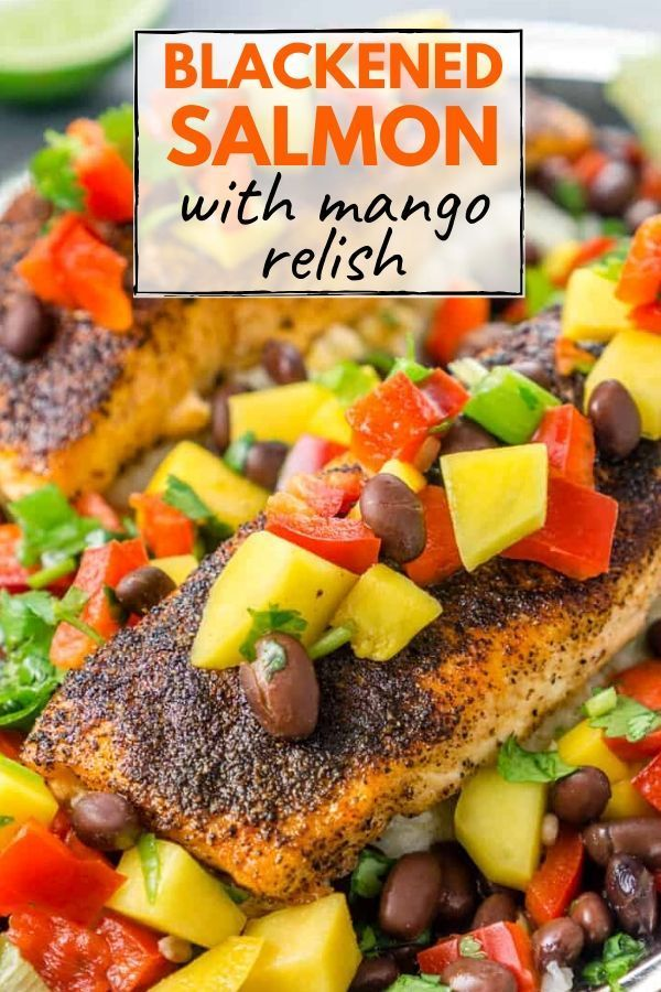 Photo of Blackened Salmon with Mango Black Bean Relish
