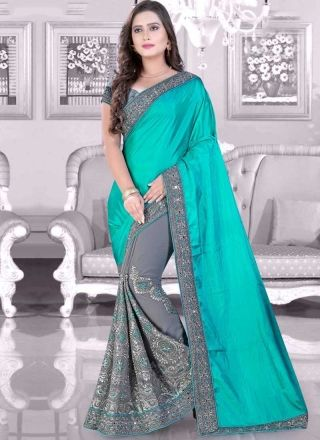 9cbca8aef3 Aqua Grey Embroidery Work Silk Georgette Fancy Designer Party Wear Half  Sarees
