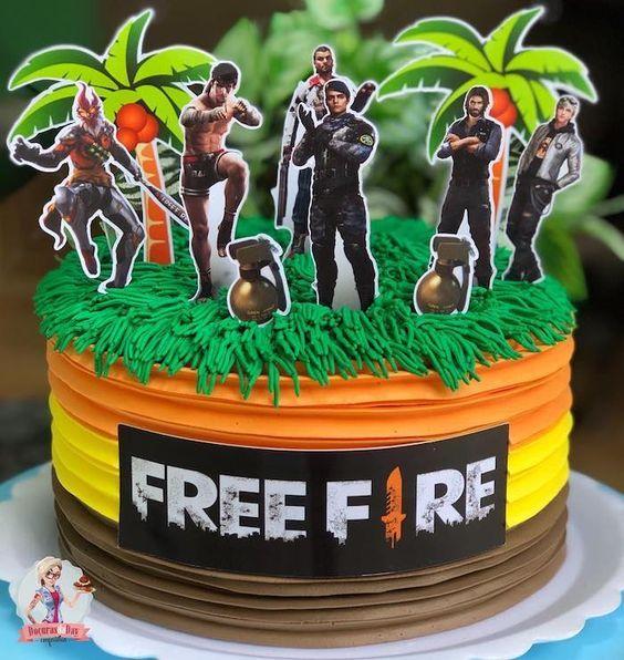 Topo De Bolo Free Fire Para Editar E Imprimir Gratis Mimo Kids Fire Cake Creative Birthday Cakes Barbie Doll Cakes