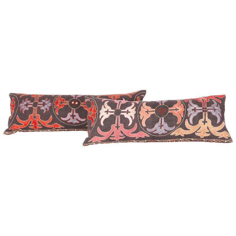 1stdibs Central Asian Rug - Vintage Pillow Cases Fashioned From Kyrgyz Embroidery Kazakhstani Kazak Silk
