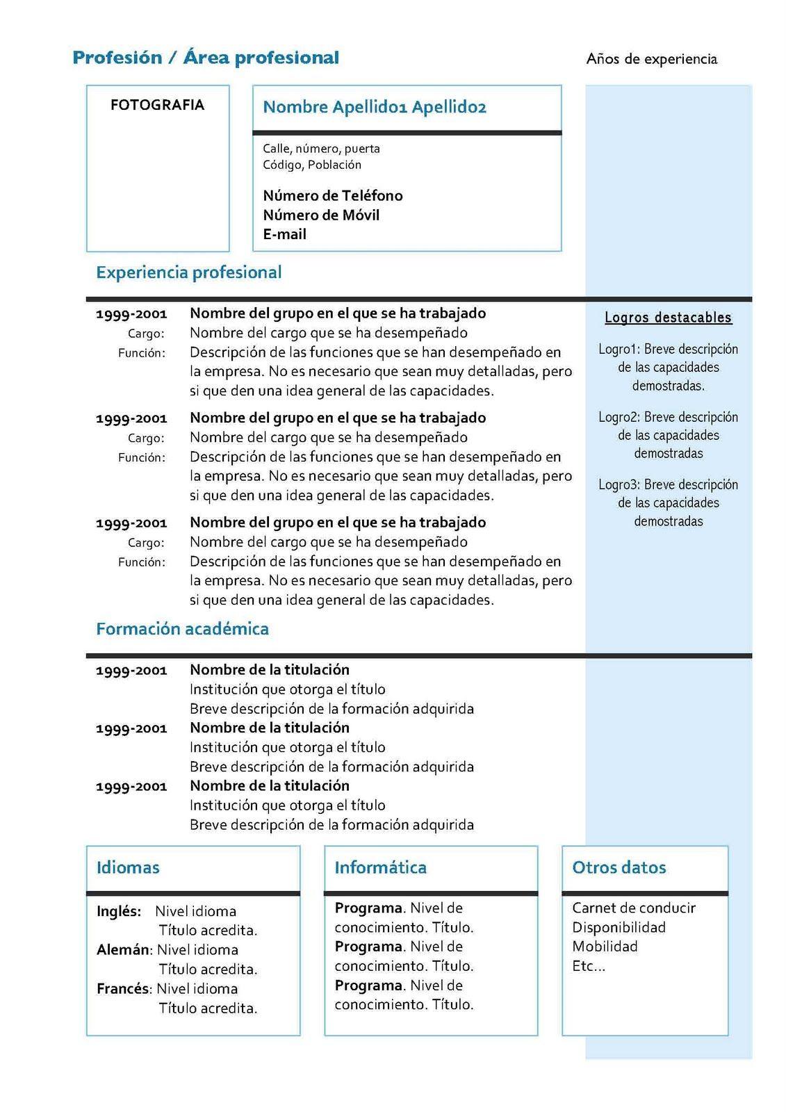 Curriculum Vitae Modelo4a Azuljpg | Lugares para visitar | Pinterest ...