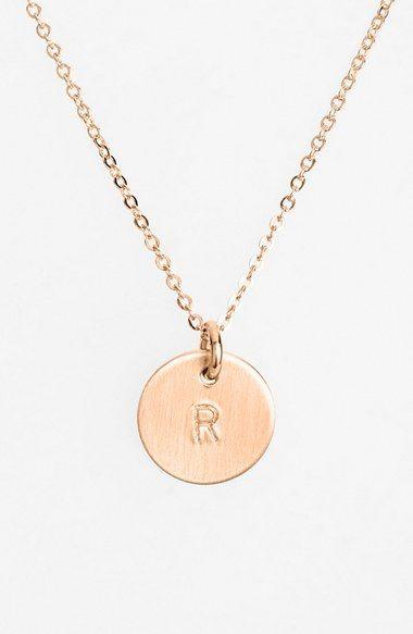 Women's Nashelle 14k-Rose Gold Fill Initial Mini Disc Necklace - 14k Rose Gold Fill R