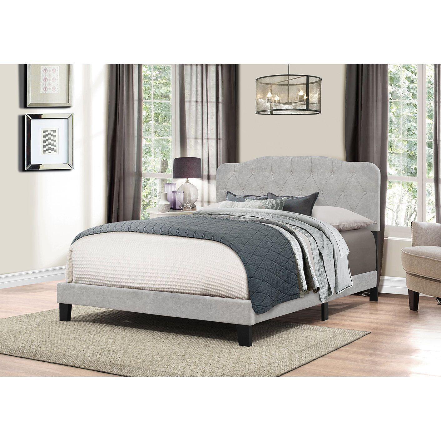 Hillsdale furniture nicole glacier grey fabric king bed headboard in