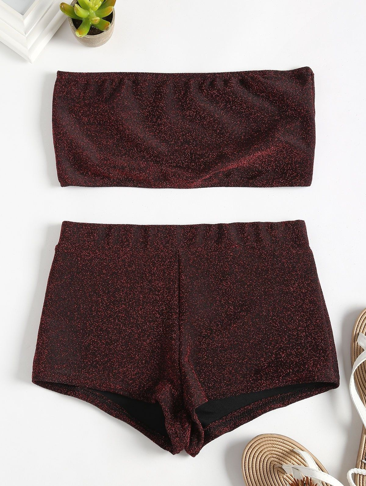 Glittering Bandeau Tube Top and Shorts Set BLANCHED ALMOND CARBON GRAY RED WINE #tubetopoutfits
