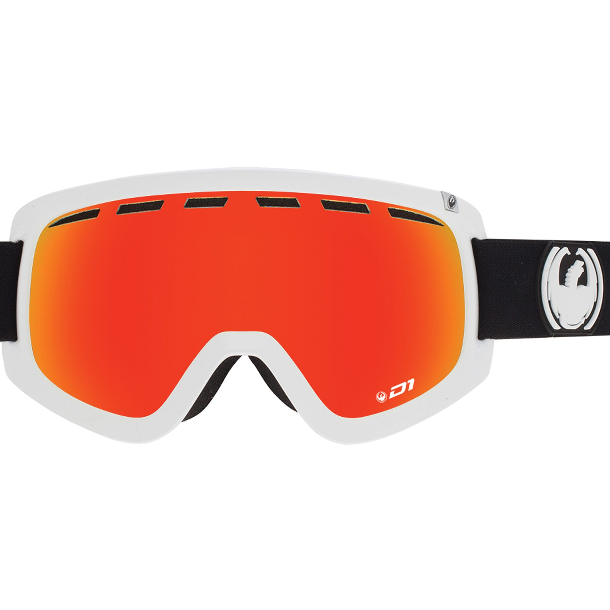 51c903383532 The D1 Goggle is the large fit framed goggle from Dragon. The Inverse white  colour with Red Ion Lens is one of the most popular colours with a bonus  lens.