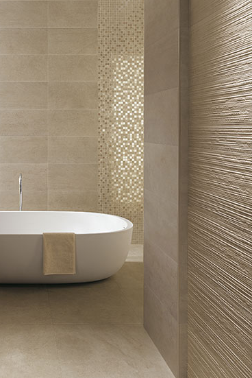 Fesselnd Minimalist Bathroom Design With Textured Walls From FCP Ceramics   Great  Matching Of Colour U0026 Texture