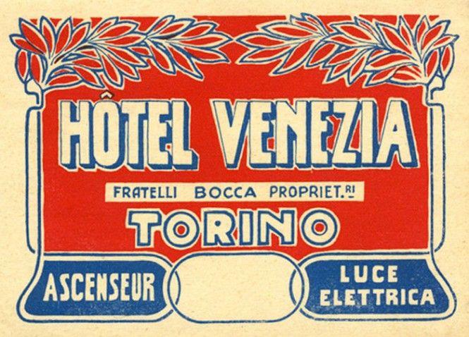 Vintage Italian luggage label: Torino - Turin, Italy. www ...