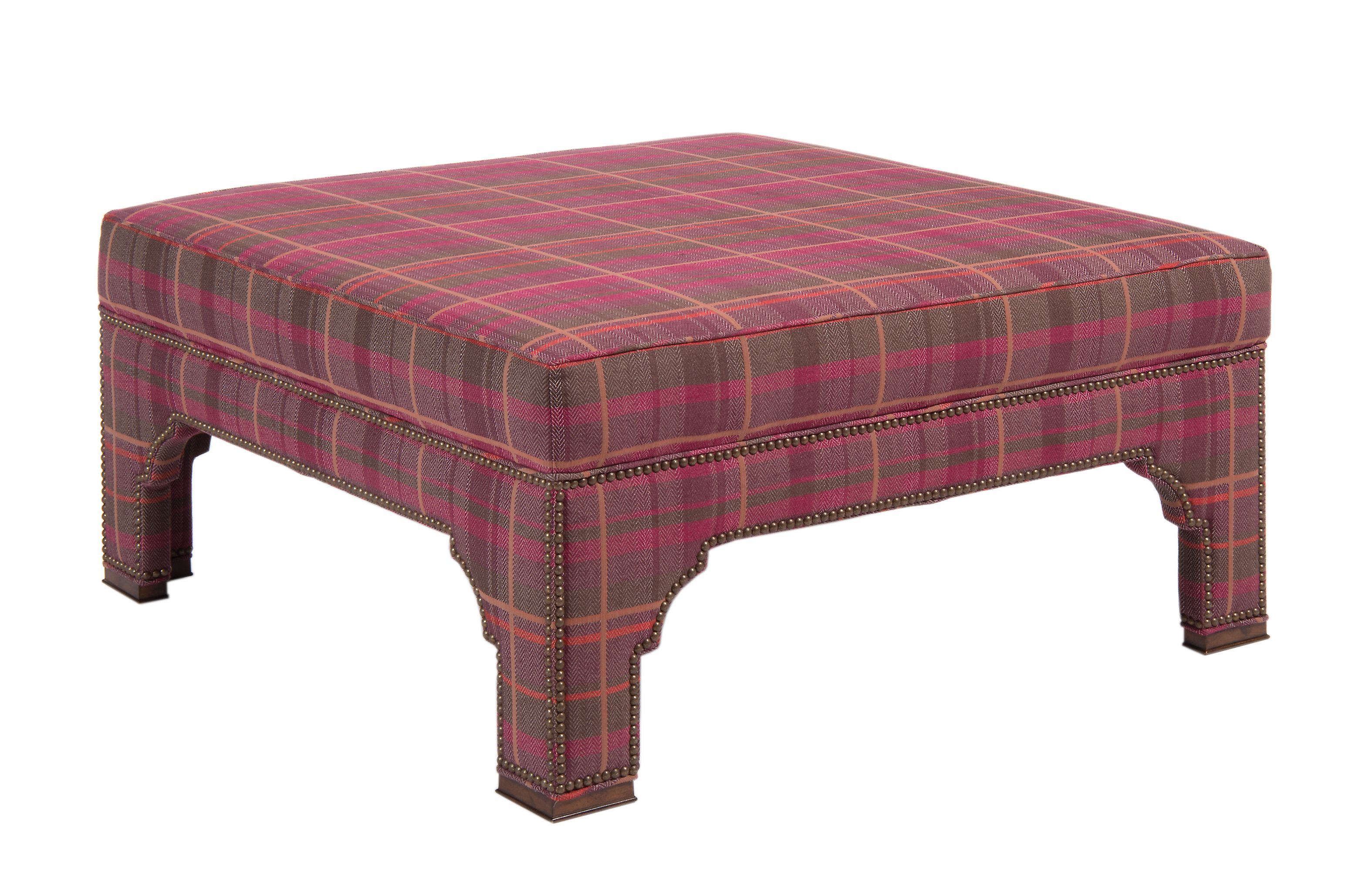 Peachy Pearsons 215 Square Ottoman In Purple Menswear Plaid Dailytribune Chair Design For Home Dailytribuneorg